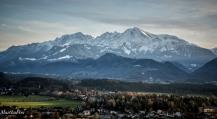 Göll, Brett, Kehlstein, und davor das Skigebiet Rossfeld